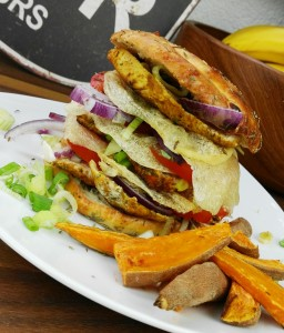 Gesunde Burger und Pommes